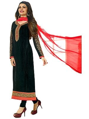 Jet-Black Long Chudidar Kameez Suit with Zari-Embroidered Patches and Self-Embroidery