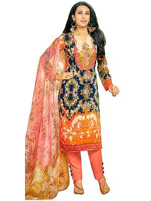 Dark-Blue and Pink Floral-Printed Trouser Salwar Kameez Suit