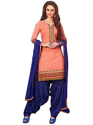 Salmon and Blue Patiala Salwar Kameez Suit with Woven Bootis and Embroidered Patches