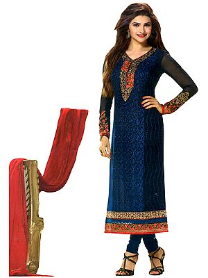 Blue-Indigo Long Choodidaar Kameez Suit with Self-Embroidery and Zari Patches