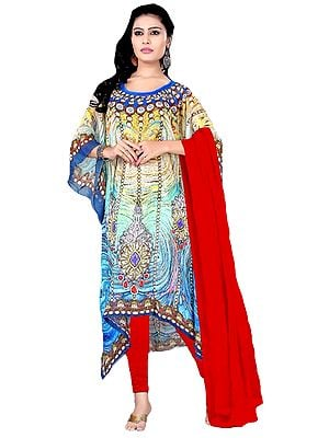 Blue and Red Choodidaar Kaftan Suit with Digital-Print and Stone-work on Neck
