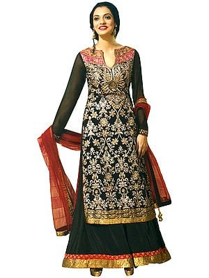 Jet-Black Designer Palazzo Salwar Suit with Embroidery All-Over and Sequined Patch Border