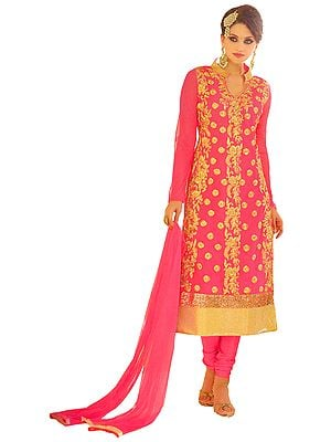 Calypso-Coral Wedding Long Coodidaar Kameez Suit with Floral-Embroidery and Golden Border