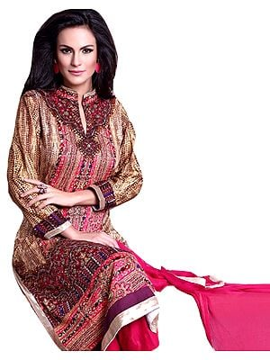 Cream and Pink Printed Parallel Salwar Suit with Crystals