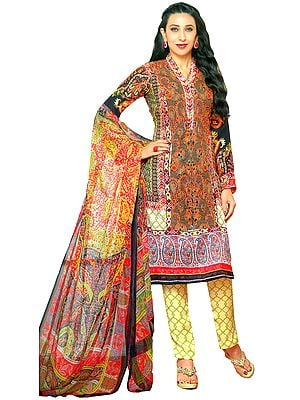 Multicolor Parallel Salwar Suit with Jamawar Print and Embroidered Patch