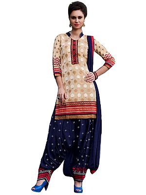 Cream and Blue Patiala Salwar Kameez Suit with Woven Bootis and Embroidered Patch on Neck and Border