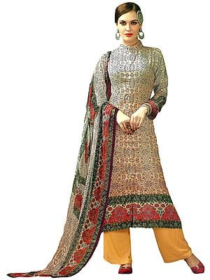 White and Sunburst Parallel Salwar Kameez Suit