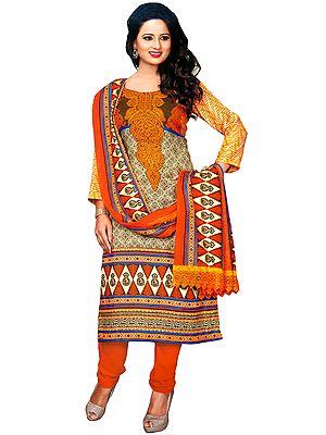 Cream and Marigold Floral-Printed Choodidaar Kameez Suit
