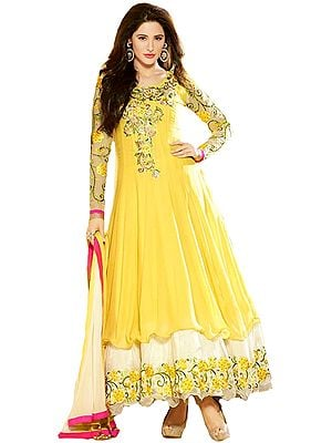 Pale-Banana and Ivory Designer Layered Anarkali Suit with Floral Zari-Embroidery and Stone-work