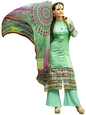 Brook-Green Printed Parallel Salwar Kameez Suit with Chiffon Dupatta
