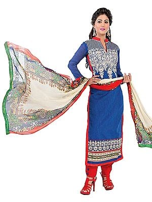 Blue and Red Embroidered Parallel Salwar Suit with Digital-Printed Dupatta