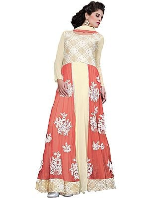 Vanilla-Cream and Dubarry Embroidered Anarkali Suit