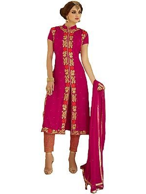 Bright-Rose Long Parallel Salwar Suit with Ari-Embroidery and Crystals