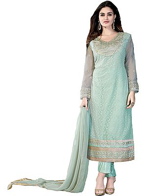Silt-Green Long Choodidaar Kameez Suit with Chikan-Embroidery and Gota Lace