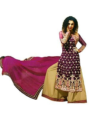Magenta-Purple Wedding Palazzo Salwar Suit with Zari-Embroidered Paisleys and Bolero Jacket