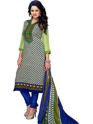 Green and Blue Coodidaar Kameez Suit with Printed Bootis
