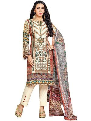 Brown and Cream Digital-Printed Parallel Salwar Suit with Chiffon Dupatta