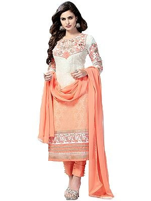 Cream and Salmon Chikan-Embroidered Long Choodidaar Kameez Suit with Embroidered Floral Patches