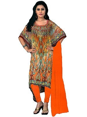 Yellow and Orange Digital-Printed Choodidaar Kaftan Suit with Stone-work on Neck