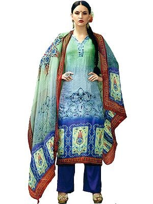 Green and Blue Printed Parallel Salwar Kameez Suit