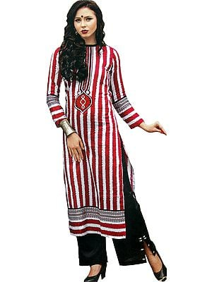 White and Maroon Parallel Salwar Suit with Embroidered Patch on Neck and Ikat Printed Stripes
