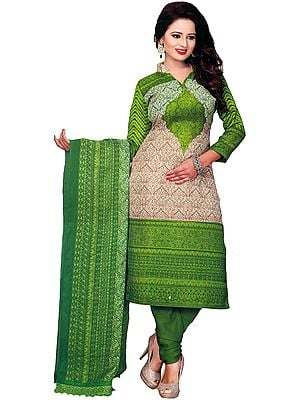 Piquant-Green Choodidaar Kameez Suit with Printed Motifs All-Over