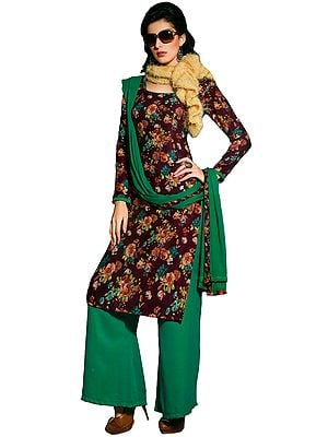 Amaranth and Green Floral-Printed Parallel Salwar Kameez Suit