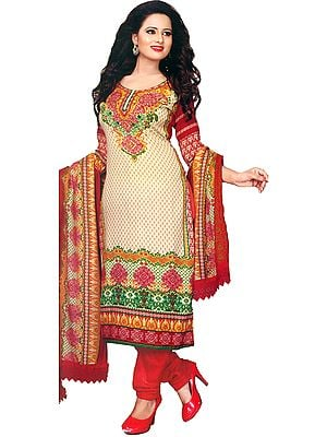 Pearled-Ivory and Red Choodidaar Kameez Suit with Printed Bootis