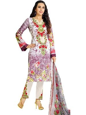 White and Purple Floral Printed Parallel Salwar Suit with Embroidered Patches and Chiffon Dupatta
