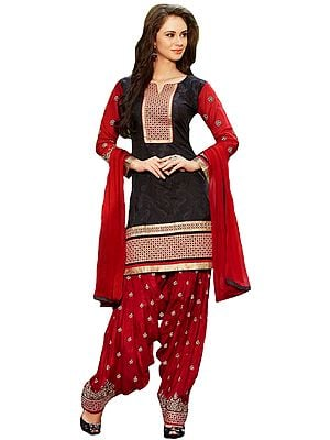 Black and Red Patiala Salwar Kameez Suit with Embroidered Patches and Paisleys Woven in Self