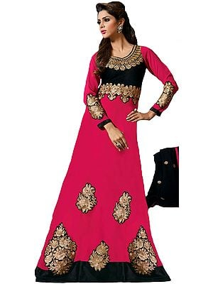 Pink and Black Long Chudidar Kameez Suit with Zari-Embroidered Patches