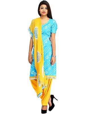 Blue and Saffron Bandhani Tie-Dye Salwar Kameez Suit from Gujarat with Patch Border