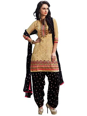 Off-White and Black Patiala Salwar Kameez Suit with Self-Weave and Floral Embroidery
