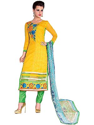 Yellow and Green Self-Embroidered Parallel Salwar Suit with Floral Embroiderd Patch and Net on Border