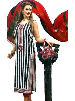 White and Black Parallel Salwar Suit with Embroidered Patch on Neck and Ikat Printed Stripes