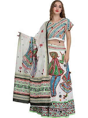 Embroidered Lehenga Choli from Jodhpur with Large Sequins and Depicting Dandia Dance