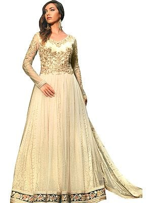 Marzipan Designer Floor-Length Anarkali Suit with Floral Zari Embroidery and Crystals