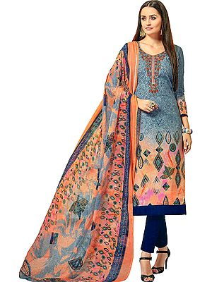 Frost-Gray Printed Trouser Salwar Kameez Suit with Embroidered Florals on Neck