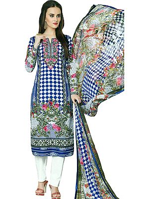 Strong-White Printed Trouser Salwar Kameez Suit with Ari-Embroidered Florals and Chiffon Dupatta
