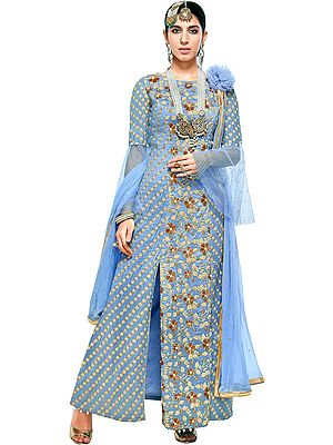 Dusk-Blue Zari-Embroidered Designer Salwar Kameez Suit with Embellished Pearls and Crsytals All-over