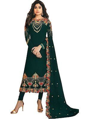 Shamita Shetty Long Choodidaar Salwar Kameez Suit with Zari-Embroidered Florals and Crystals