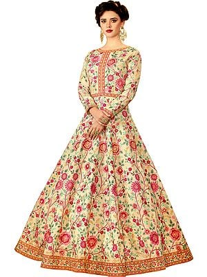 Afterglow Designer Floor-Length Floral Anarkali Suit with Zari Embroidery and Cystals All-Over