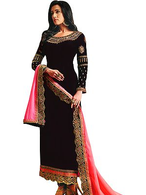 Deep-Purple Long Choodidaar Salwar Kameez Suit with Zari-Embroidery and Pink Chiffon Dupatta