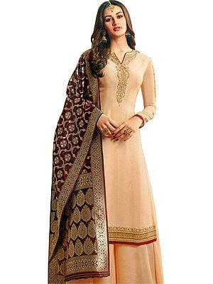 Honey-Peach Pakistani Salwar Kameez Suit with Zari Embroidery and Woven Dupatta