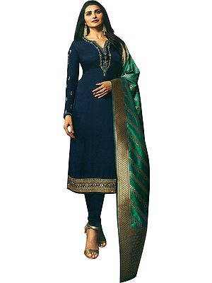Twilight-Blue Prachi Long Choodidaar Salwar Kameez Suit with Zari-Embroidery and Crystals