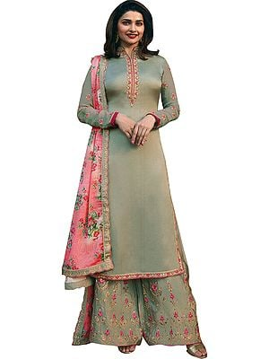 Russywillow-Gray Prachi Long Palazzo Salwar Kameez Suit with Ari-Embroidery and Printed Dupatta