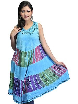 Sky-Blue Batik Printed Dress with Threadwork
