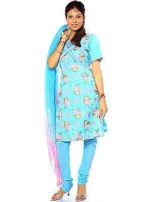 Sky-Blue Salwar Kameez with All-Over Floral Embroidery and Sequins