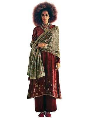 Biking-Red Long Palazzo Kameez Suit with Zari-Embroidery and Floral Dupatta