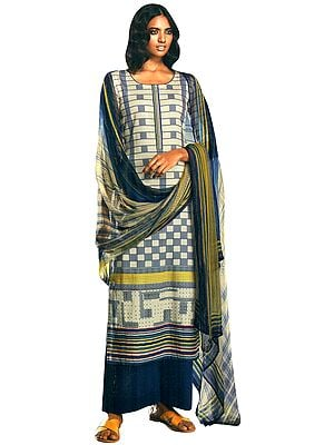 Seaborne-Blue Digital Printed Palazzo Salwar- Kameez Suit with Dupatta